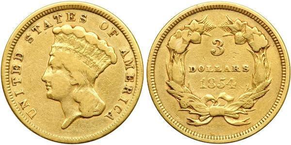 3 Dollar 美利堅合眾國 (1776 - ) 金