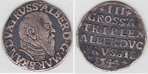3 Grosh Alemania / Margraviate of Brandenburg (1157–1806) / States of Germany Plata Alberto I de Prusia