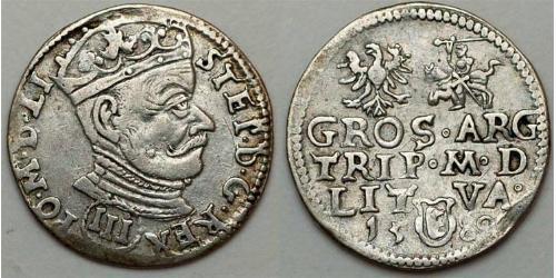 3 Grosh República de las Dos Naciones (1569-1795) Plata Stefan Batory (1533 - 1586)