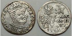 3 Grosh Polen-Litauen (1569-1795) Silber Stefan Batory (1533 - 1586)