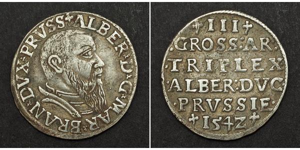 3 Grosh Germany / Margraviate of Brandenburg (1157–1806) / States of Germany Silver Albert, Duke of Prussia