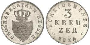 3 Kreuzer 黑森-达姆施塔特 (1806 - 1918) 銀