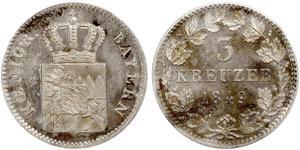 3 Kreuzer Bavière Argent Maximilien II de Bavière(1811 - 1864)