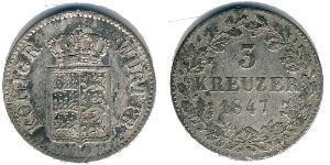 3 Kreuzer Royaume de Wurtemberg (1806-1918) Argent