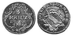 3 Kreuzer Margrave of Baden-Durlach (1535 - 1771) Billon