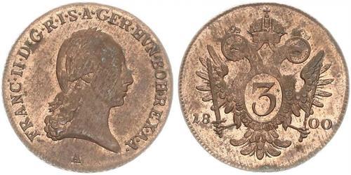 3 Kreuzer Habsburg Empire (1526-1804) / Sacro Imperio Romano (962-1806) Cobre Francis II, Holy Roman Emperor (1768 - 1835)