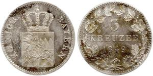 3 Kreuzer Baviera Plata Maximiliano II de Baviera(1811 - 1864)