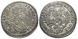 3 Kreuzer Bohemia Plata Carlos VI, Emperador del Sacro Imperio Romano (1685-1740)