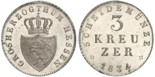 3 Kreuzer Hesse-Darmstadt (1806 - 1918) Plata