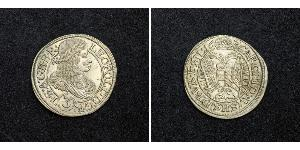 3 Kreuzer Sacro Imperio Romano (962-1806) Plata Leopoldo I de Habsburgo(1640-1705)