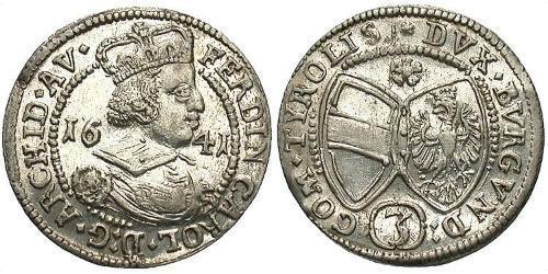 3 Kreuzer Österreich Silber Ferdinand Karl (Österreich-Tirol)
