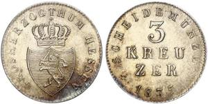 3 Kreuzer Großherzogtum Hessen (1806 - 1918) Silber