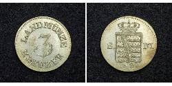 3 Kreuzer Duchy of Saxe-Meiningen (1680 - 1918) Silver Bernhard II, Duke of Saxe-Meiningen