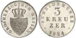 3 Kreuzer Grand Duchy of Hesse (1806 - 1918) Silver