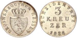 3 Kreuzer Grand Duchy of Hesse (1806 - 1918) Silver