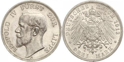 3 Mark 利珀親王國 (1123 - 1918) 銀 Leopold IV, Prince of Lippe