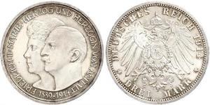 3 Mark 安哈尔特-德绍 銀 弗里德里希二世 (安哈尔特) (1856 - 1918)