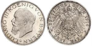 3 Mark 巴伐利亞王國 (1806 - 1918) 銀 路德维希三世 (巴伐利亚) (1845 – 1921)