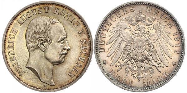 3 Mark 萨克森王国 (1806 - 1918) 銀 弗里德里希·奥古斯特三世 (萨克森国王)