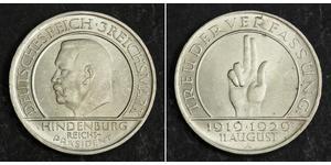 3 Mark 魏瑪共和國 (1919 - 1933) 銀 保罗·冯·兴登堡 (1847 - 1934)
