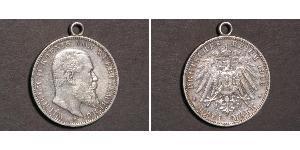3 Mark Kingdom of Württemberg (1806-1918) 銀 威廉二世 (德国)