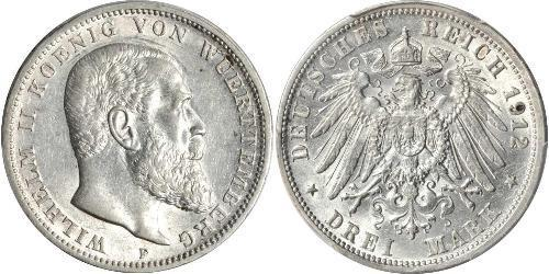 3 Mark Kingdom of Württemberg (1806-1918) 銀 威廉二世 (德国)