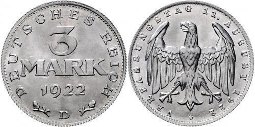 3 Mark République de Weimar (1918-1933) Aluminium