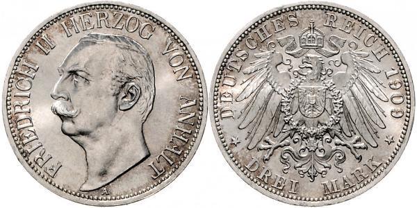 3 Mark Anhalt-Dessau (1603 -1863) Argent Frédéric II d