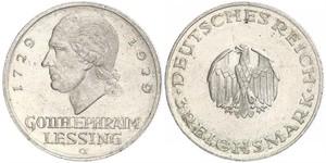 3 Mark Empire allemand (1871-1918) Argent Gotthold Ephraim Lessing