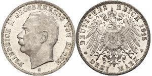 3 Mark Grand-duché de Bade (1806-1918) Argent Frédéric II de Bade (1857-1928) (1857 - 1928)