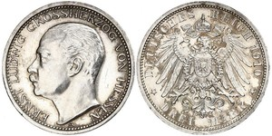 3 Mark Grand-duché de Hesse (1806 - 1918) Argent Ernest-Louis de Hesse (1868 - 1937)