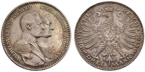 3 Mark Grand-duché de Saxe-Weimar-Eisenach (1809 - 1918) Argent Guillaume-Ernest de Saxe-Weimar-Eisenach