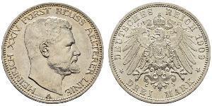 3 Mark Principauté Reuss branche aînée (1778 - 1918) Argent Henri XXIV Reuss-Greiz