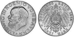 3 Mark Royaume de Bavière (1806 - 1918) Argent Louis III de Bavière (1845 – 1921)