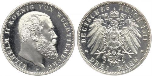 3 Mark Royaume de Wurtemberg (1806-1918) Argent Wilhelm II, German Emperor (1859-1941)