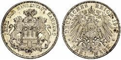3 Mark States of Germany / Hambourg Argent