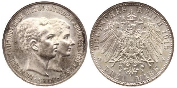 3 Mark Ducato di Brunswick (1815 - 1918) Argento Ernesto Augusto III di Brunswick (1887 - 1953)