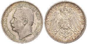 3 Mark Grand Duchy of Baden (1806-1918) Argento Federico II di Baden (1857 - 1928)