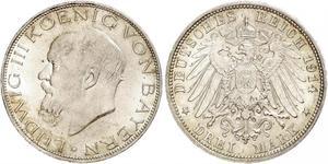 3 Mark Regno di Baviera (1806 - 1918) Argento Ludovico III di Baviera (1845 – 1921)
