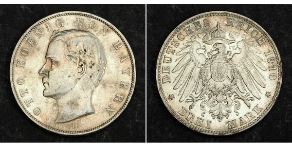 3 Mark Regno di Baviera (1806 - 1918) Argento Ottone di Baviera(1848 – 1916)