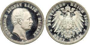 3 Mark Regno di Sassonia (1806 - 1918) Argento Federico Augusto III di Sassonia (1865-1932)