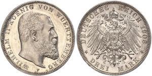3 Mark Regno di Württemberg (1806-1918) Argento Wilhelm II, German Emperor (1859-1941)