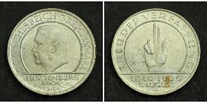 3 Mark Repubblica di Weimar (1918-1933) Argento Paul von Hindenburg