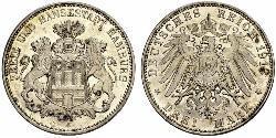 3 Mark Stati federali della Germania / Amburgo Argento