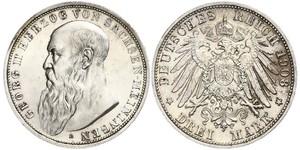 3 Mark Ducado de Sajonia-Meiningen (1680 - 1918) Plata Jorge II de Sajonia-Meiningen