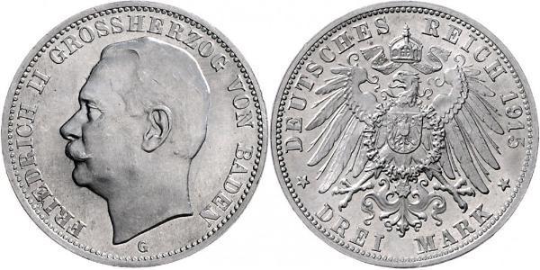3 Mark Gran Ducado de Baden (1806-1918) Plata Federico II de Baden (1857 - 1928)
