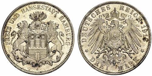 3 Mark Hamburgo / States of Germany Plata