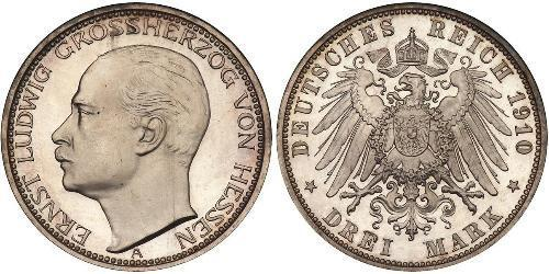 3 Mark Hesse-Darmstadt (1806 - 1918) Plata Ernesto Luis de Hesse-Darmstadt (1868 - 1937)