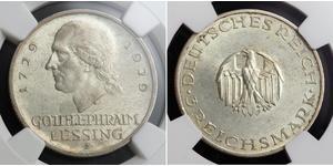 3 Mark Imperio alemán (1871-1918) Plata Gotthold Ephraim Lessing