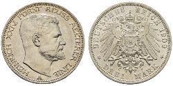 3 Mark Principado de Reuss (línea mayor) (1778 - 1918) Plata Enrique XXIV de Reuss-Greiz